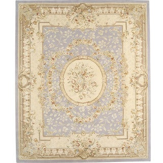Chinese Florence Hand-tufted Blue/ Beige Wool and Silk Area Rug (7'9 x 9'9)