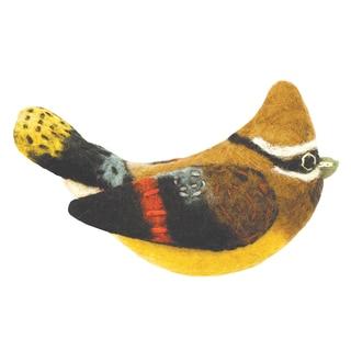 Wild Woolies Felt Bird Garden Ornament - Cedar Waxwing (Nepal)