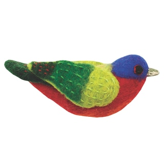 Wild Woolies Felt Bird Garden Ornament - Painted Bunting (Nepal)