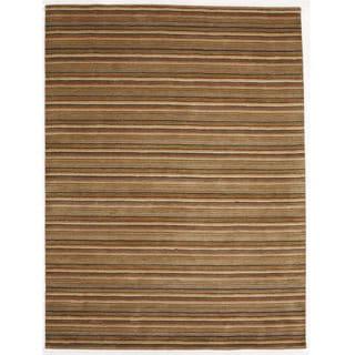 Indo Hand-tufted Wool Orange Striped Rug (8' x 10')