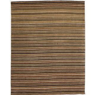 Indo Hand-tufted Striped Orange Wool Rug (8' x 10')