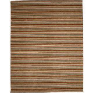 Indo Striped Orange Hand-tufted Wool Rug (8' x 10')