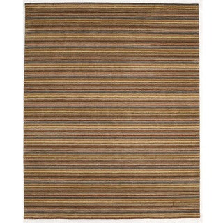 Indo Hand-tufted Orange Striped Wool Rug (8' x 10')