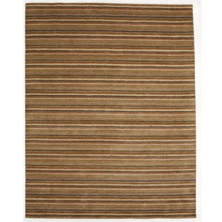 Indo Hand-tufted Wool Striped Orange Rug (8' x 10')