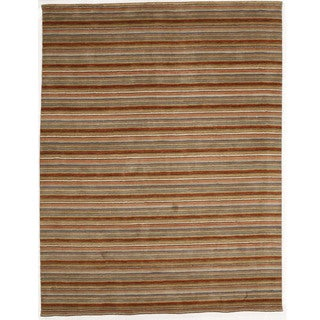 Indo Hand-tufted Wool Striped Rug (8' x 10')