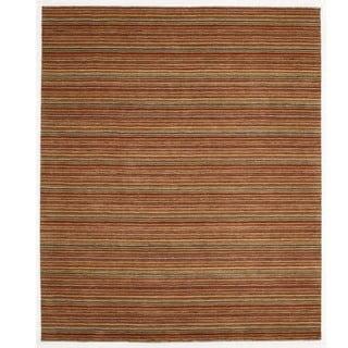 Indo Wool Orange Hand-tufted Striped Rug (8' x 10')