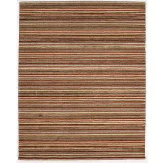 Indo Orange Hand-tufted Striped Wool Rug (8' x 10')