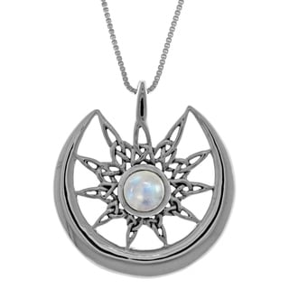 CGC Sterling Silver Celtic Star Sun and Crescent Moon Pendant with Rainbow Moonstone on 18-inch Box Chain Necklace
