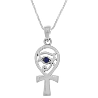 CGC Sterling Silver Egyptian Eye of Horus Ankh Pendant with Simulated Blue Lapis on 18-inch Box Chain Necklace