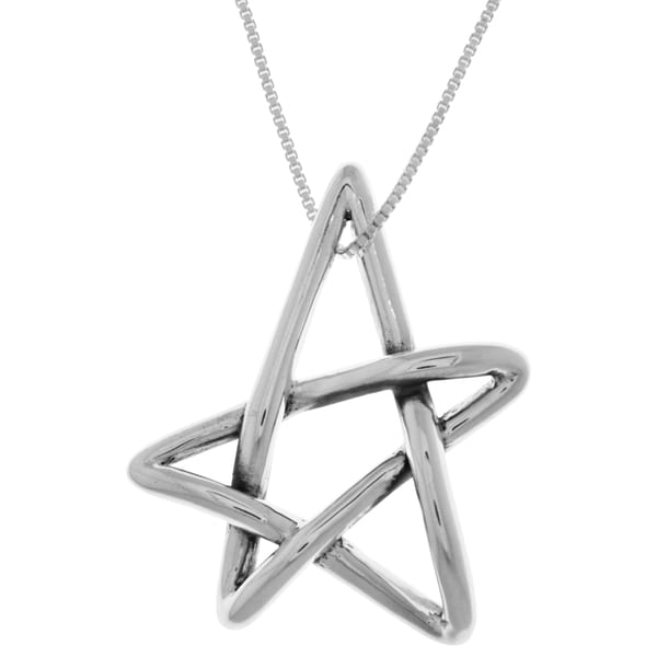 CGC Sterling Silver Freeform Five Point Star Pendant on 18-inch Box Chain Necklace