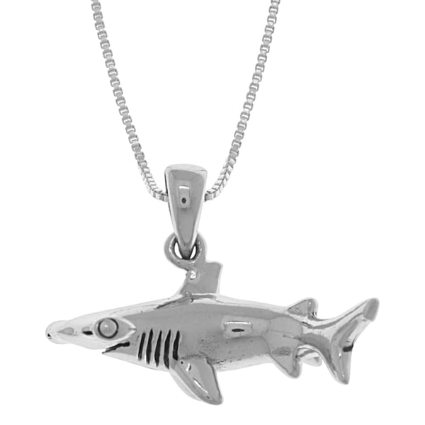CGC Sterling Silver Hammerhead Shark 18-inch Box Chain Necklace