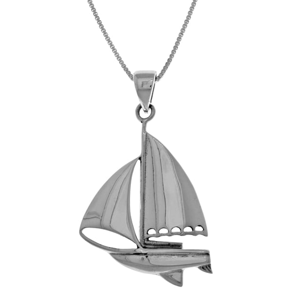 CGC Sterling Silver Nautical Sailboat 18-inch Box Chain Necklace