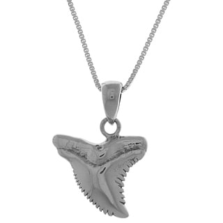 CGC Sterling Silver Shark Tooth 18-inch Box Chain Necklace