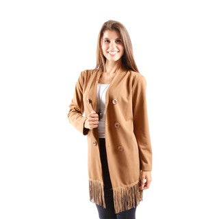Hadari Women's Long Sleeve Double Breasted No Lapel Blazer With Lace Back and Fringed Hem