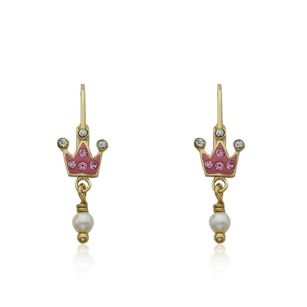 Molly Glitz 'Pretty Princess' 14k Goldplated Crystal Crown and Fresh Water Pearl Leverback Earrings
