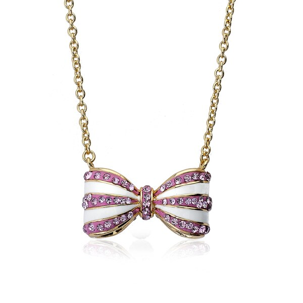 Molly Glitz Bowtique 14k Goldplated Pink Crystals and White Enamel Stripes 3D Bow Necklace