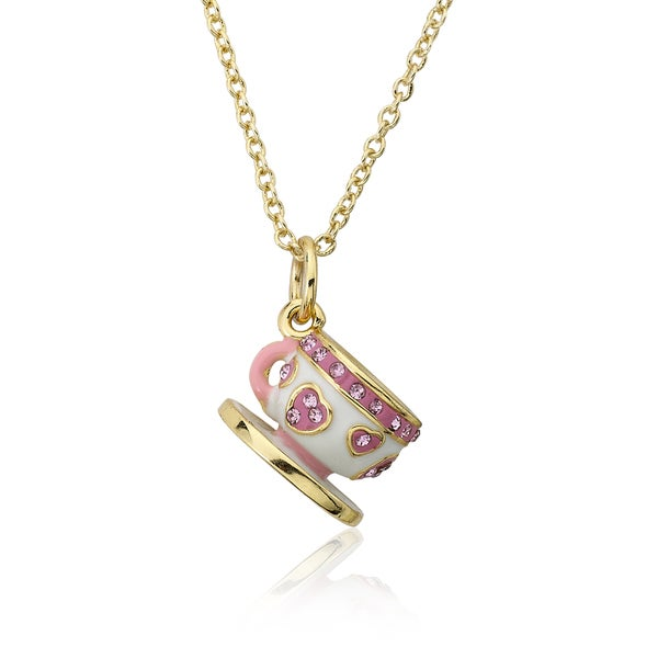Molly Glitz Tea For Two 14k Goldplated Lavender Purple Enamel Crystal Striped Tea Cup Pendant Necklace