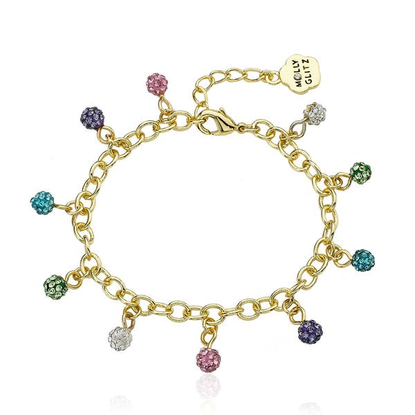Molly Glitz 14k Goldplated Multicolor Mini Crystal Balls Bracelet