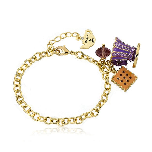 Molly Glitz 14k Goldplated Purple Tea Time Charm Bracelet