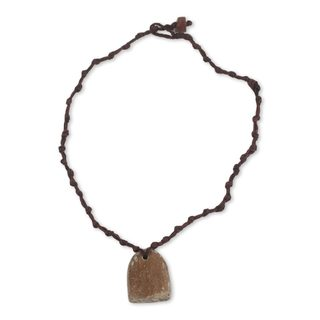 Handcrafted Soapstone 'Antique Brown' Necklace (Ghana)