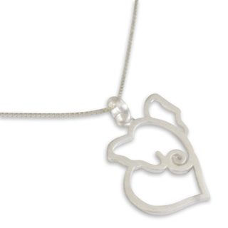 Handcrafted Sterling Silver 'Elephant Heart' Necklace (Thailand)