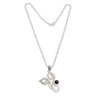 Sterling Silver 'Andean Butterfly' Obsidian Necklace (Peru)
