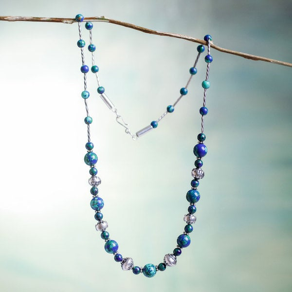 Handcrafted Sterling Silver 'Andean Planet' Azurite Necklace (Peru)