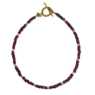 Handcrafted Gold Overlay 'Simply Enchanted' Garnet Bracelet (Thailand)