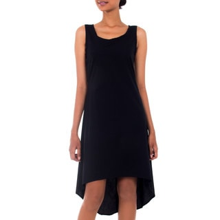 Handcrafted Cotton 'Cempaka in Black' Sundress (Indonesia)