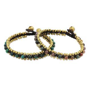 Set of 2 Brass 'Happy Times' Serpentine Agate Bracelets (Thailand)