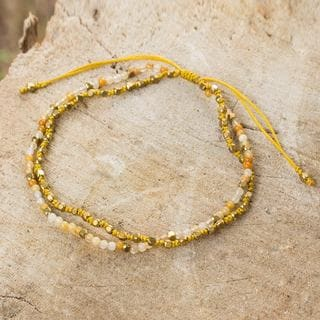 Handcrafted Gold Overlay 'Warm Breeze' Jasper Bracelet (Thailand)