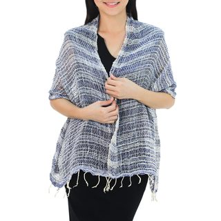 Handcrafted Cotton 'Breezy Blue' Shawl (Thailand)