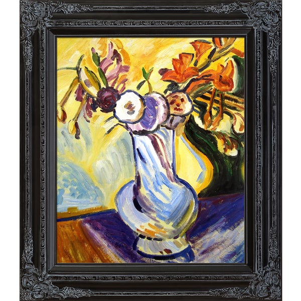 Alfred Henry Maurer 'Flowers in a White Vase' Hand Painted Framed Canvas Art