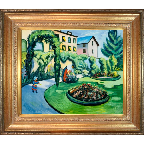 August Macke 'The Macke Garden at Bonn' (Gartenbild) Hand Painted Framed Canvas Art