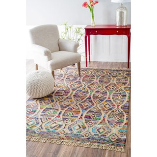nuLOOM Flatweave Modern Striped Diamond Cotton Multi Rug (8' x 10')