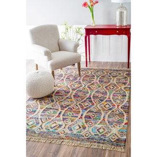 nuLOOM Flatweave Modern Striped Diamond Cotton Multi Rug (5' x 8')