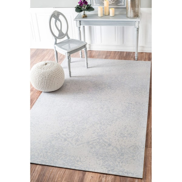 nuLOOM Handmade Distressed Persian Wool Cream/ Grey Rug (7'6 x 9'6)
