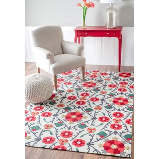 nuLOOM Handmade Contemporary Floral Vines Red Rug (5' x 8')