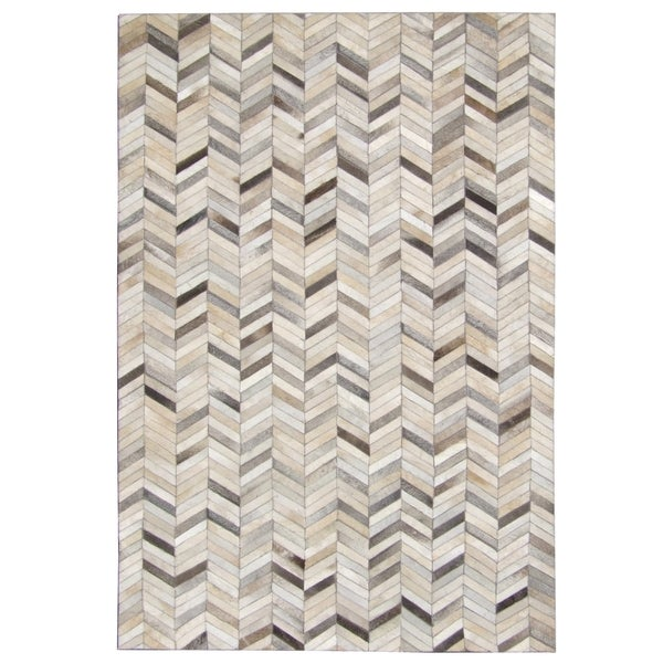 Hand Stitched Grey Chevron Cow Hide Leather Rug 5 X 8