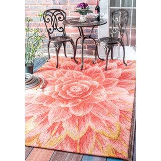 nuLOOM Handmade Bold Abstract Floral Indoor/ Outdoor Terracotta Rug (7'6 x 9'6)