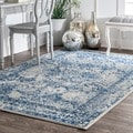 nuLOOM Vintage Floral Ornament Light Blue Rug (7'10 x 10'10)