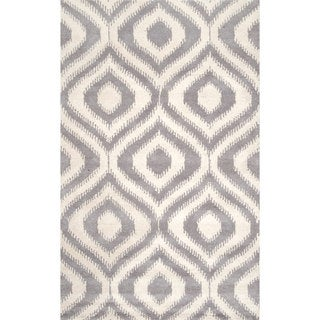 nuLOOM Handmade Modern Ikat Lattice Wool Light Grey Rug (8'6 x 11'6)