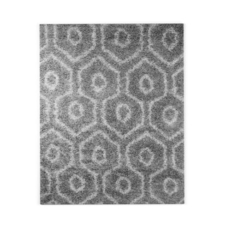 nuLOOM Soft and Plush Keyhole Trellis Shag Dark Grey Rug (8' x 10')