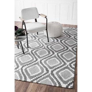 nuLOOM Handmade Modern Ikat Trellis Grey Rug (8'6 x 11'6)