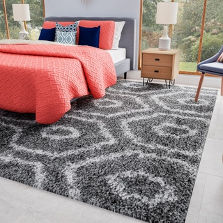 nuLOOM Soft and Plush Keyhole Trellis Shag Dark Grey Rug (9'2 x 12')