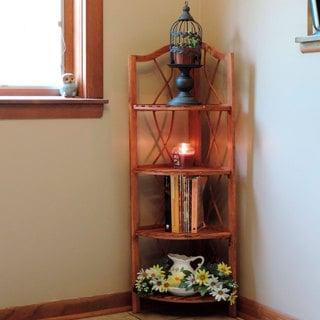 Windsor Home 4 Tier Wood Folding Corner Display Shelf