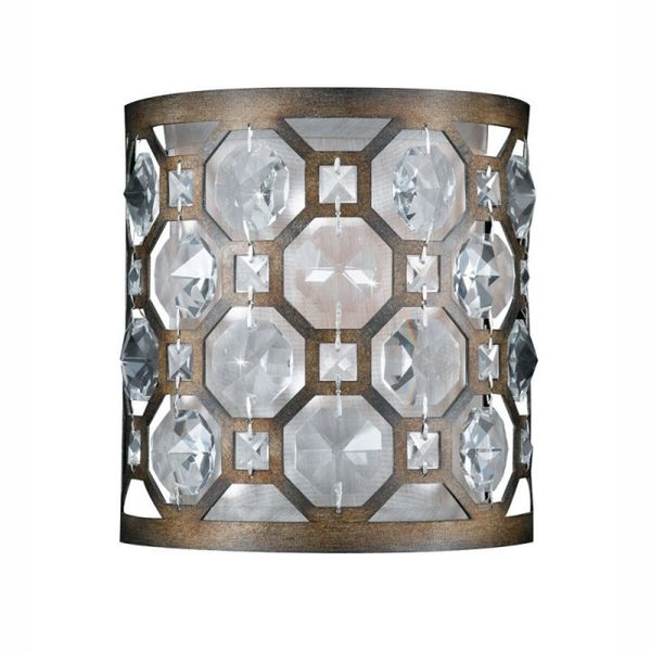 Cambridge 1-Light Hand Painted Weathered Bronze Finish Wall Sconce With Crystal Accents