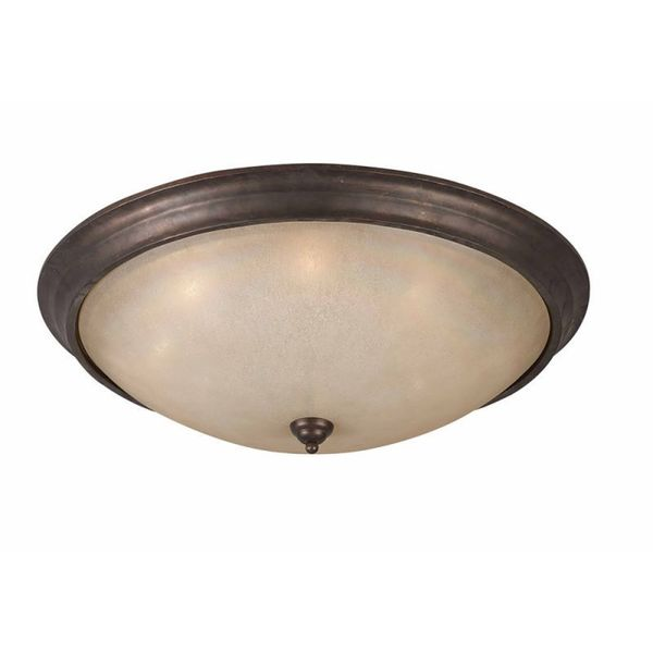 Cambridge 8-Light Bronze Flush Mount With Glass Glass