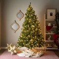 7' Pre-lit Artificial Christmas Tree with Hinged Branches with Clear or Multicolored Bulbs