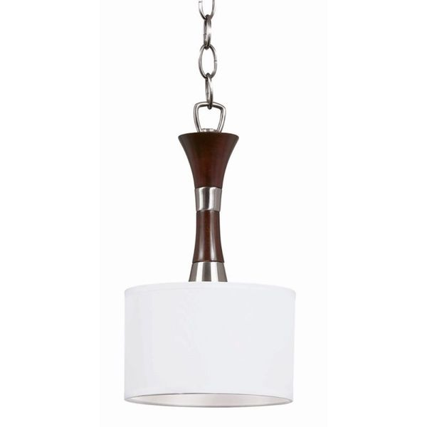 Cambridge 1-Light Redwood And Satin Nickel Chandelier With Linen Shade